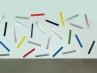 Righelli, 2013, spray acrilico su plexiglas, cm 96x12, ciascuno. Veduta dell\'installazione alla galleria Frittelli Arte Contemporanea, Firenze
