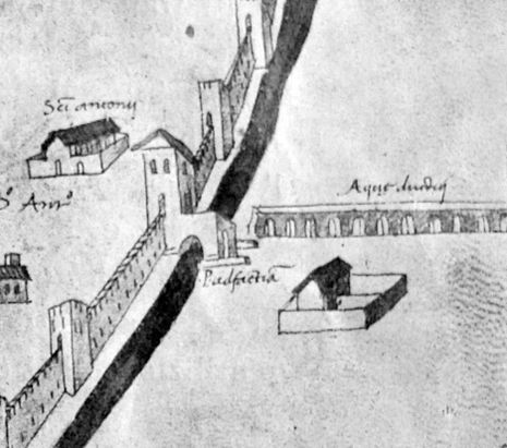 I resti dell'acquedotto romano di Firenze, presso la scomparsa Porta a Faenza (ove ora c'è la Fortezza da Basso), in una veduta della città del 1470 - da wikipedia