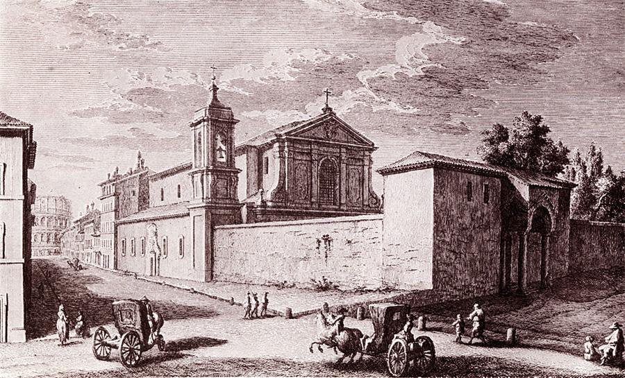 veduta della basilica di San Clemente nel '700. Dietro si scorge il Colosseo.