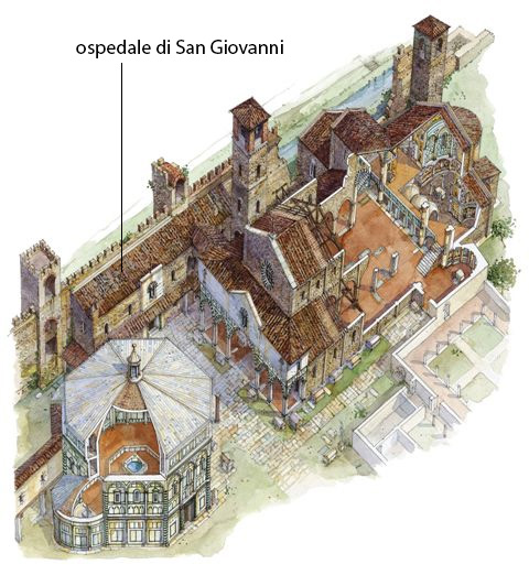 ricostruzione di Massimo Tosi dell'area tra il Battistero e Santa Reparata. Da http://www.gonews.it/2014/01/20/la-citta-prima-di-arnolfo-si-parla-dei-cristiani-del-13esimo-secolo/