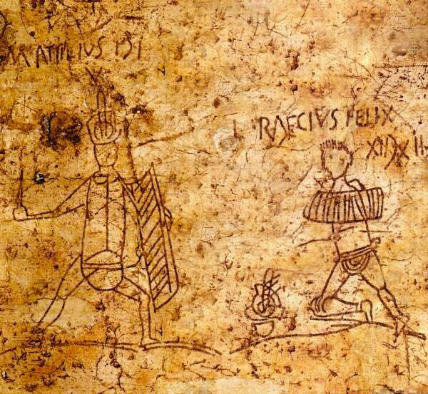 Pompei, graffito con giochi gladiatori