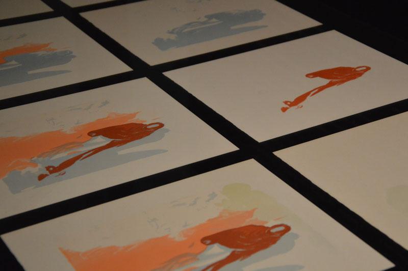 le stampe delle varie matrici in legno che unite vanno a comporre l'immagine finale